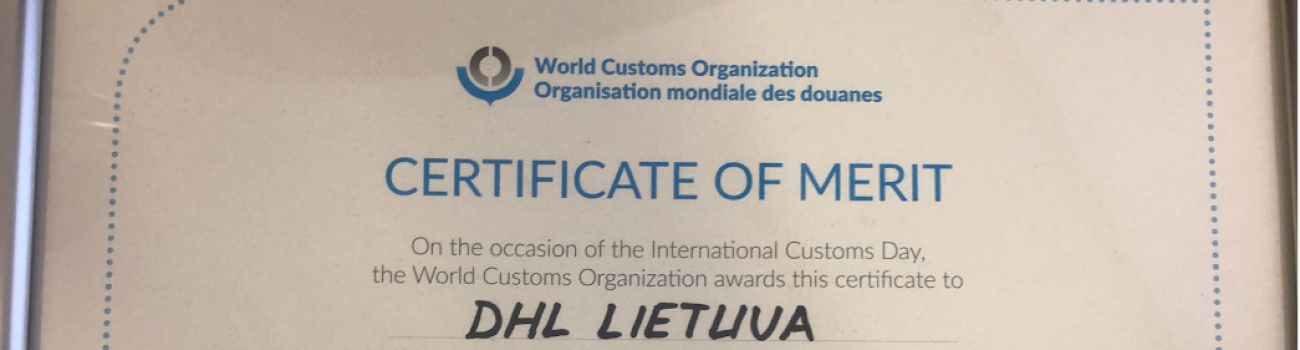 DHL Lithuania awarded with WCO сertificate